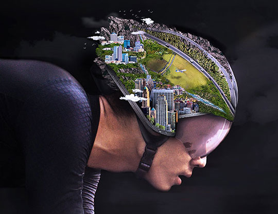 Cyclist with city on helmet