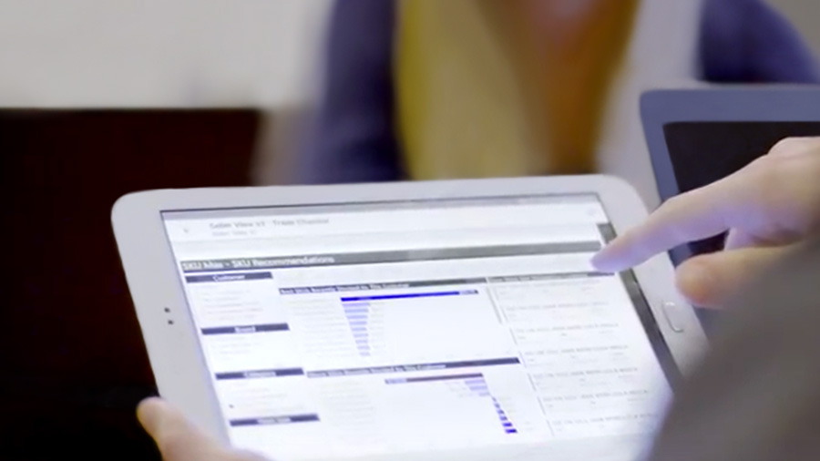 Tablet displaying graph data