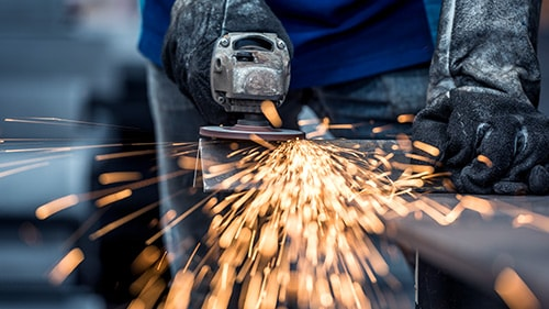 Sparks flying from metal