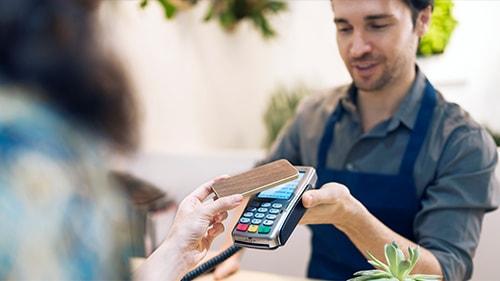 Man receiving payment via mobile