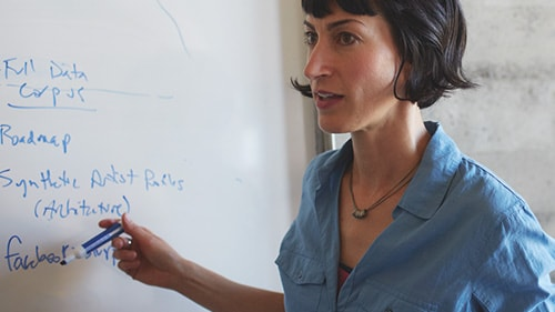 Woman presenting with whiteboard