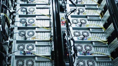 Stacks of computer hardware
