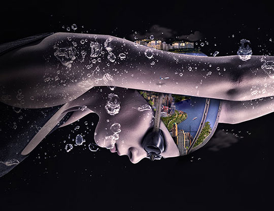 Swimmer in the water with city on swimming cap