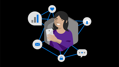 Illustration of woman with connected smartphone