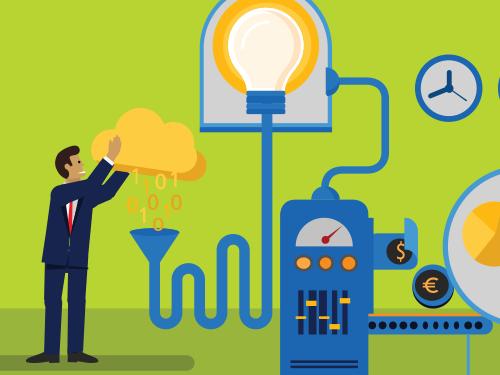 illustration of man using cloud to run an intricate machine