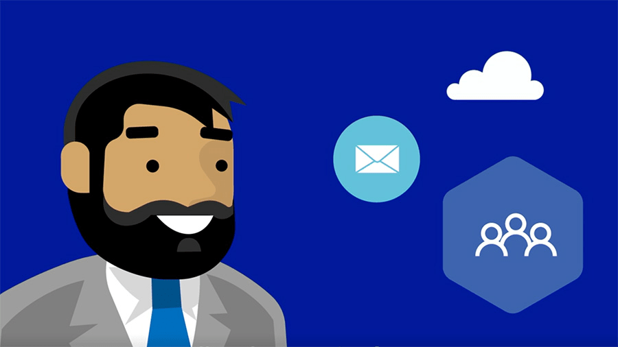 Illustration of a man in suit and icons of mail, teams, and a cloud